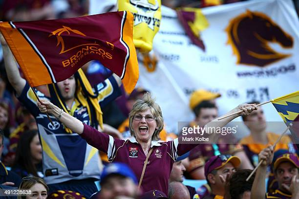 Broncos fans show their support before the 2015 NRL Grand Final match between the Brisbane Broncos and the North Queensland Cowboys at ANZ Stadium on...