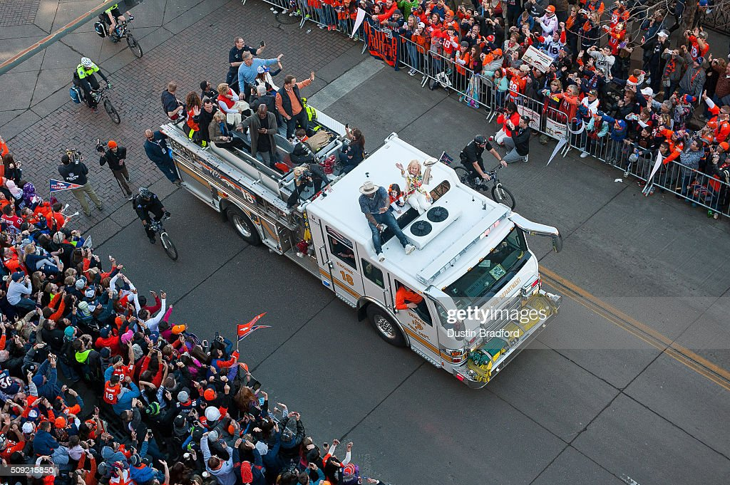 Broncos owner <a gi-track='captionPersonalityLinkClicked' href=/galleries/search?phrase=Pat+Bowlen&family=editorial&specificpeople=749424 ng-click='$event.stopPropagation()'>Pat Bowlen</a>'s wife, <a gi-track='captionPersonalityLinkClicked' href=/galleries/search?phrase=Annabel+Bowlen&family=editorial&specificpeople=15059471 ng-click='$event.stopPropagation()'>Annabel Bowlen</a>, rides a Denver Fire Department fire truck with <a gi-track='captionPersonalityLinkClicked' href=/galleries/search?phrase=Von+Miller&family=editorial&specificpeople=7125735 ng-click='$event.stopPropagation()'>Von Miller</a>, <a gi-track='captionPersonalityLinkClicked' href=/galleries/search?phrase=Peyton+Manning&family=editorial&specificpeople=184524 ng-click='$event.stopPropagation()'>Peyton Manning</a>, <a gi-track='captionPersonalityLinkClicked' href=/galleries/search?phrase=DeMarcus+Ware&family=editorial&specificpeople=756468 ng-click='$event.stopPropagation()'>DeMarcus Ware</a>, and the Lombardi Trophy as Broncos players and personnel take part in a victory parade after the Broncos won Super Bowl 50 on February 9, 2016 in downtown Denver, Colorado.