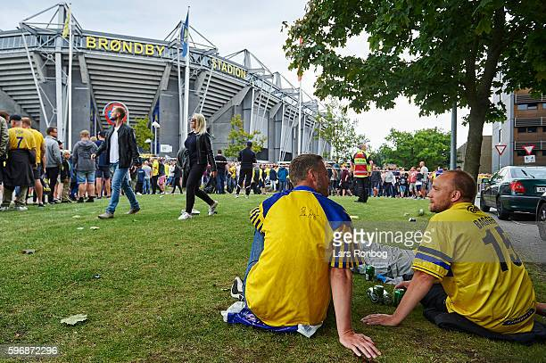 Brondby fans waits outside the ground to come in prior to the Danish Alka Superliga match between Brondby IF and FC Copenhagen at Brondby Stadion on...