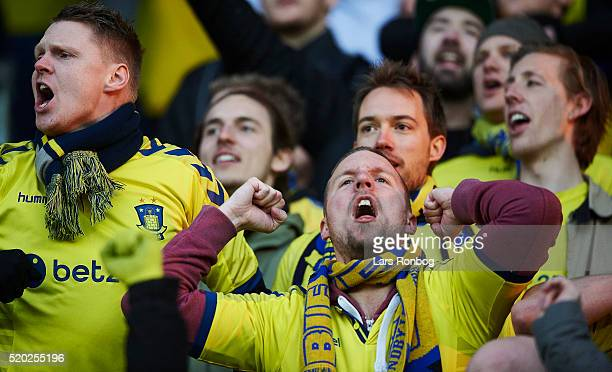 Brondby IF fans celebrates after the Danish Alka Superliga match between Brondby IF and OB Odense at Brondby Stadion on April 10 2016 in Brondby...
