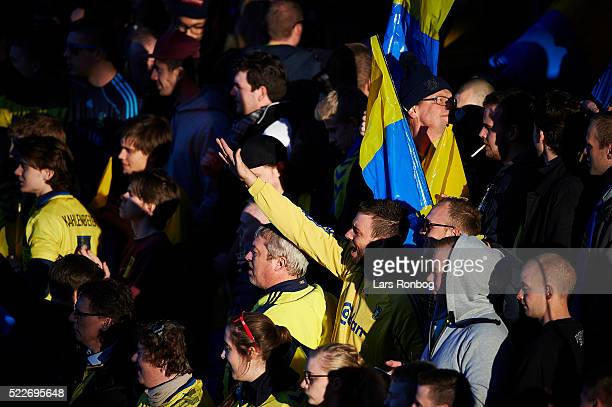 Brondby IF fans cheer prior to the Danish Cup DBU Pokalen semifinal match between Brondby IF and FC Copenhagen at Brondby Stadion on April 20 2016 in...