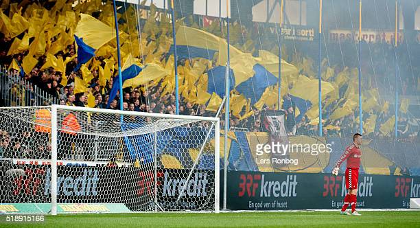 Brondby IF fans with a tifo prior to the Danish Alka Superliga match between FC Midtjylland and Brondby IF at MCH Arena on April 3 2016 in Herning...
