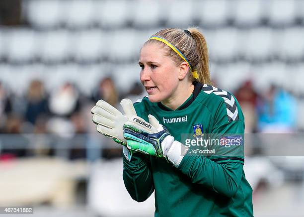 Brondby IF's goalkeeper Katrine Abel in action during the UEFA Women's Champions League quarterfinal match between Linkopings FC and Brondby IF at...