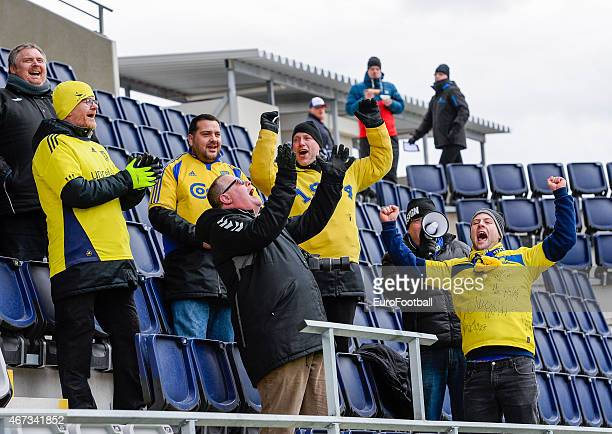 Brondby IF's supporters are pictured during the UEFA Women's Champions League quarterfinal match between Linkopings FC and Brondby IF at Linkoping...