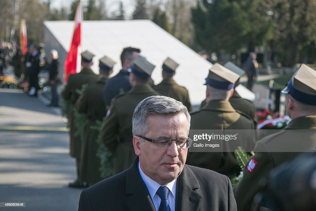 <a gi-track='captionPersonalityLinkClicked' href=/galleries/search?phrase=Bronislaw+Komorowski&family=editorial&specificpeople=836872 ng-click='$event.stopPropagation()'>Bronislaw Komorowski</a> attends a ceremony commemorating the victims of the 2010 Smolensk airplane crash on April 10, 2015 at Powazki Cementary in Warsaw, Poland. On 10 April, 2010 a Tupolev Tu-154M aircraft of the Polish Air Force crashed in Smolensk, Russia, killing all 96 people on board, including President Lech Kaczynski and his wife Maria.