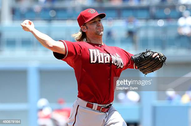 Bronson Arroyo of the Arizona Diamondbacks throws a pitch against the Los Angeles Dodgers at Dodger Stadium on June 15 2014 in Los Angeles California