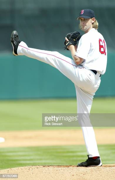 Bronson Arroyo of the Boston Red Sox pitches during the game against the Cincinnati Reds on March 14 2006 at City of Palms Park in Ft Meyers Florida...