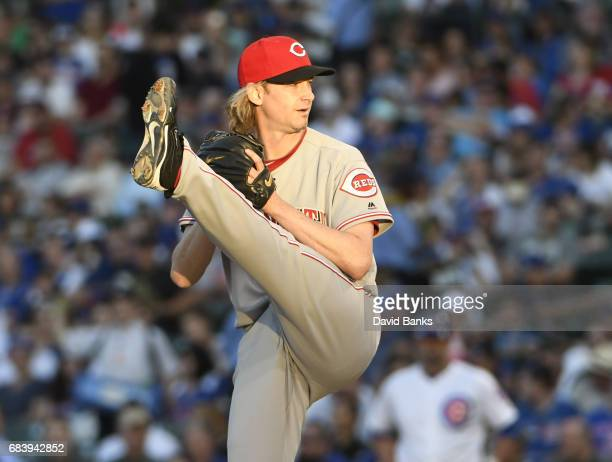 Bronson Arroyo of the Cincinnati Reds pitches against the Chicago Cubs during the first inning on May 16 2017 at Wrigley Field in Chicago Illinois