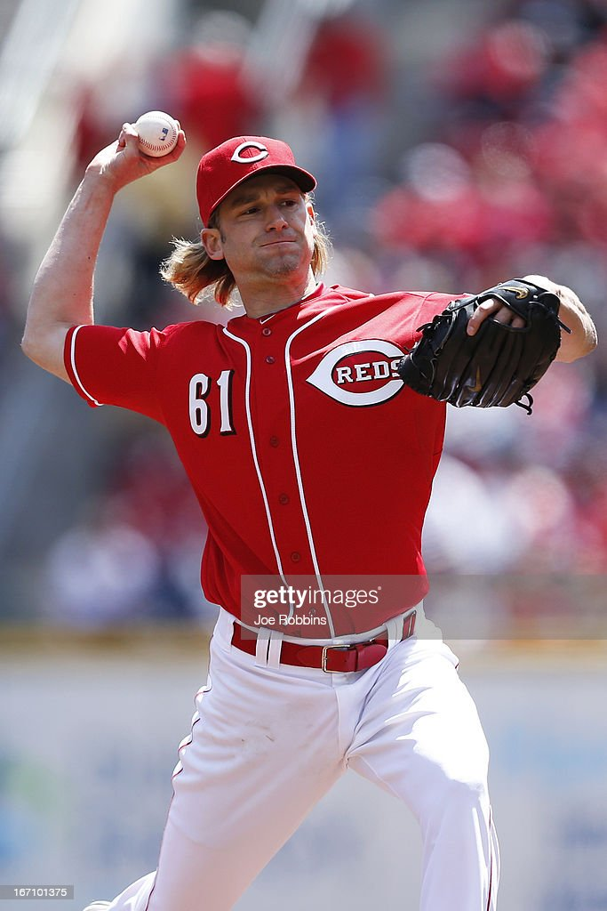 <a gi-track='captionPersonalityLinkClicked' href=/galleries/search?phrase=Bronson+Arroyo&family=editorial&specificpeople=204136 ng-click='$event.stopPropagation()'>Bronson Arroyo</a> #61 of the Cincinnati Reds pitches against the Miami Marlins during the game at Great American Ball Park on April 20, 2013 in Cincinnati, Ohio.