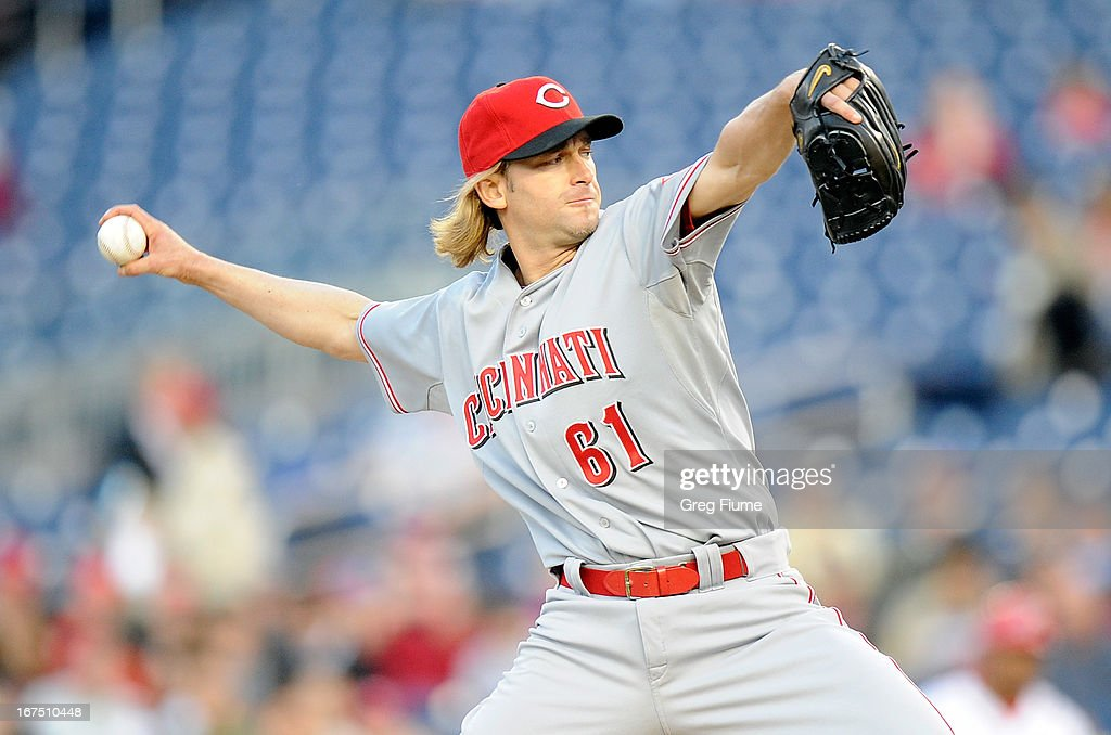 <a gi-track='captionPersonalityLinkClicked' href=/galleries/search?phrase=Bronson+Arroyo&family=editorial&specificpeople=204136 ng-click='$event.stopPropagation()'>Bronson Arroyo</a> #61 of the Cincinnati Reds pitches in the first inning against the Washington Nationals at Nationals Park on April 25, 2013 in Washington, DC.