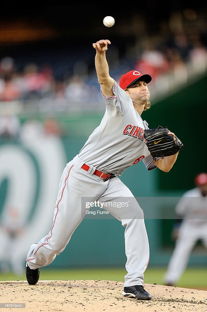 <a gi-track='captionPersonalityLinkClicked' href=/galleries/search?phrase=Bronson+Arroyo&family=editorial&specificpeople=204136 ng-click='$event.stopPropagation()'>Bronson Arroyo</a> #61 of the Cincinnati Reds pitches in the second inning against the Washington Nationals at Nationals Park on April 25, 2013 in Washington, DC.