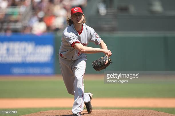 Bronson Arroyo of the Cincinnati Reds pitching during the game against the San Francisco Giants at the ATT Park in San Francisco California on August...