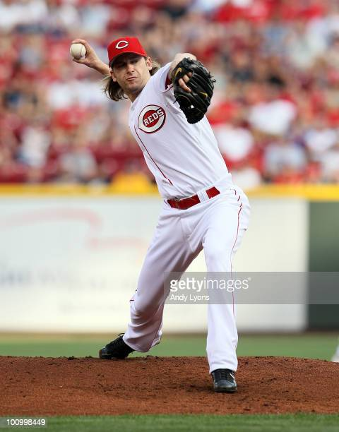 Bronson Arroyo of the Cincinnati Reds throws a pitch during the game against the Pittsburgh Pirates at Great American Ball Park on May 26 2010 in...
