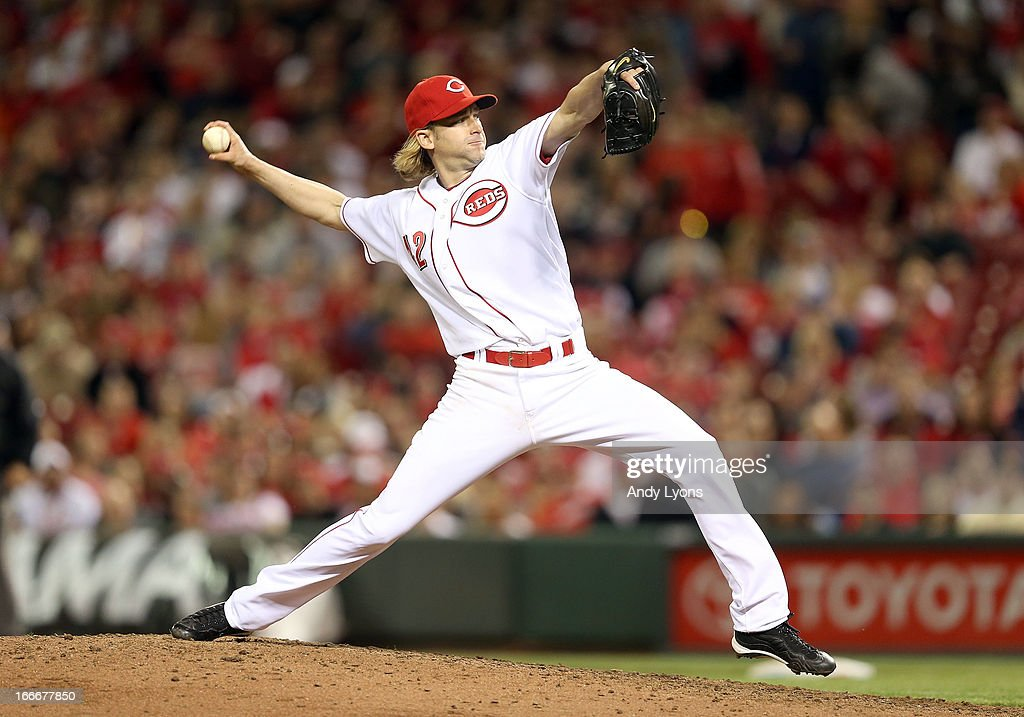 <a gi-track='captionPersonalityLinkClicked' href=/galleries/search?phrase=Bronson+Arroyo&family=editorial&specificpeople=204136 ng-click='$event.stopPropagation()'>Bronson Arroyo</a> of the Cincinnati Reds throws a pitch during the game against the Philadelphia Phillies at Great American Ball Park on April 15, 2013 in Cincinnati, Ohio. All uniformed team members are wearing jersey number 42 in honor of Jackie Robinson Day.