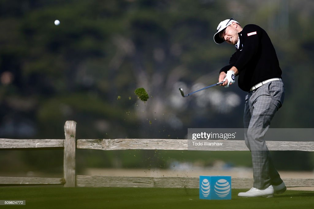 Bronson Burgoon plays his tee shot on the seventh hole during the second round of the AT&T Pebble Beach National Pro-Am at the Pebble Beach Golf Links on February 12, 2016 in Pebble Beach, California.
