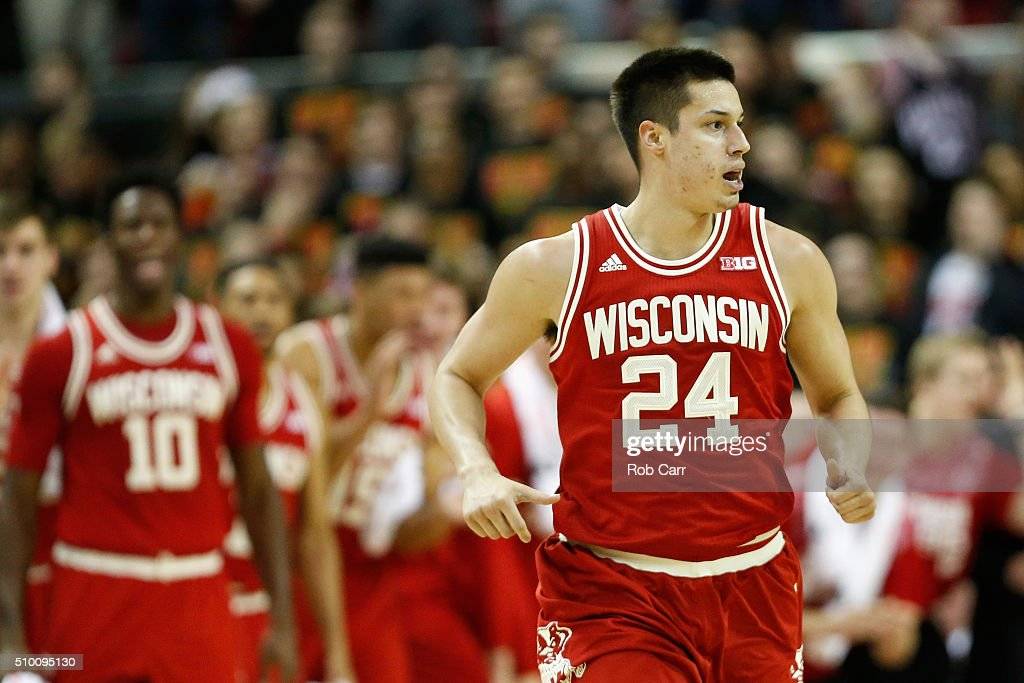 <a gi-track='captionPersonalityLinkClicked' href=/galleries/search?phrase=Bronson+Koenig&family=editorial&specificpeople=9510843 ng-click='$event.stopPropagation()'>Bronson Koenig</a> #24 of the Wisconsin Badgers celebrates after hitting a shot in the second half against the Maryland Terrapins at Xfinity Center on February 13, 2016 in College Park, Maryland. Wisconsin won 70-57.