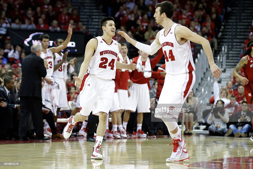 Bronson Koenig #24 of the Wisconsin Badgers celebrates after making a three pointer during the second half against the Nebraska Cornhuskers at Kohl Center on January 15, 2015 in Madison, Wisconsin.