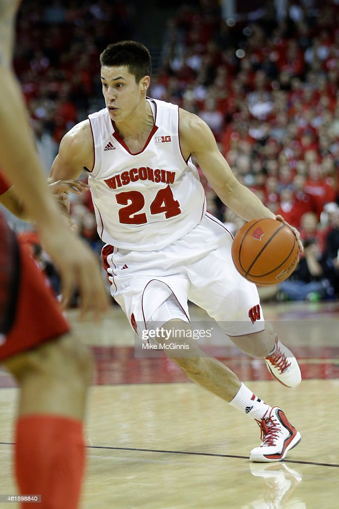 Bronson Koenig #24 of the Wisconsin Badgers drives to the hoop during the first half against the Nebraska Cornhuskers at Kohl Center on January 15, 2015 in Madison, Wisconsin.