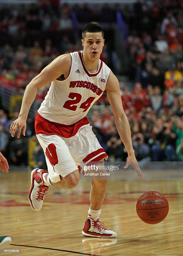 <a gi-track='captionPersonalityLinkClicked' href=/galleries/search?phrase=Bronson+Koenig&family=editorial&specificpeople=9510843 ng-click='$event.stopPropagation()'>Bronson Koenig</a> #24 of the Wisconsin Badgers moves against the Michigan State Spartans during the Championship game of the 2015 Big Ten Men's Basketball Tournament at the United Center on March 15, 2015 in Chicago, Illinois. Wisconsin defeated Michigan State 80-69 in overtime.