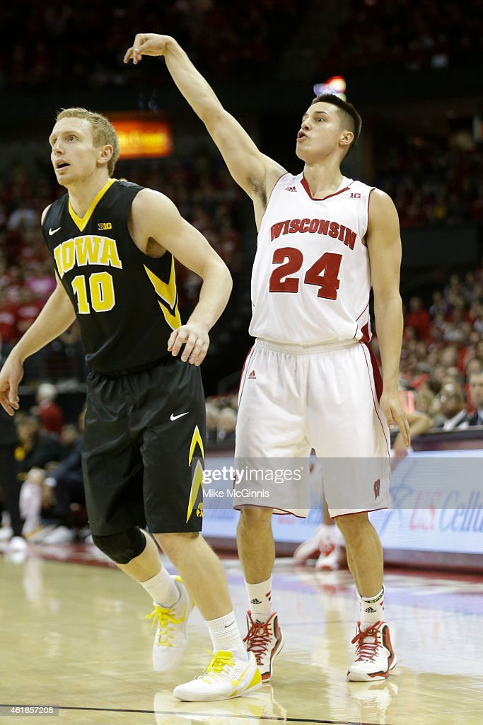 <a gi-track='captionPersonalityLinkClicked' href=/galleries/search?phrase=Bronson+Koenig&family=editorial&specificpeople=9510843 ng-click='$event.stopPropagation()'>Bronson Koenig</a> #24 of the Wisconsin Badgers reacts to his three-pointer during the second half against the Iowa Hawkeyes at Kohl Center on January 20, 2015 in Madison, Wisconsin.