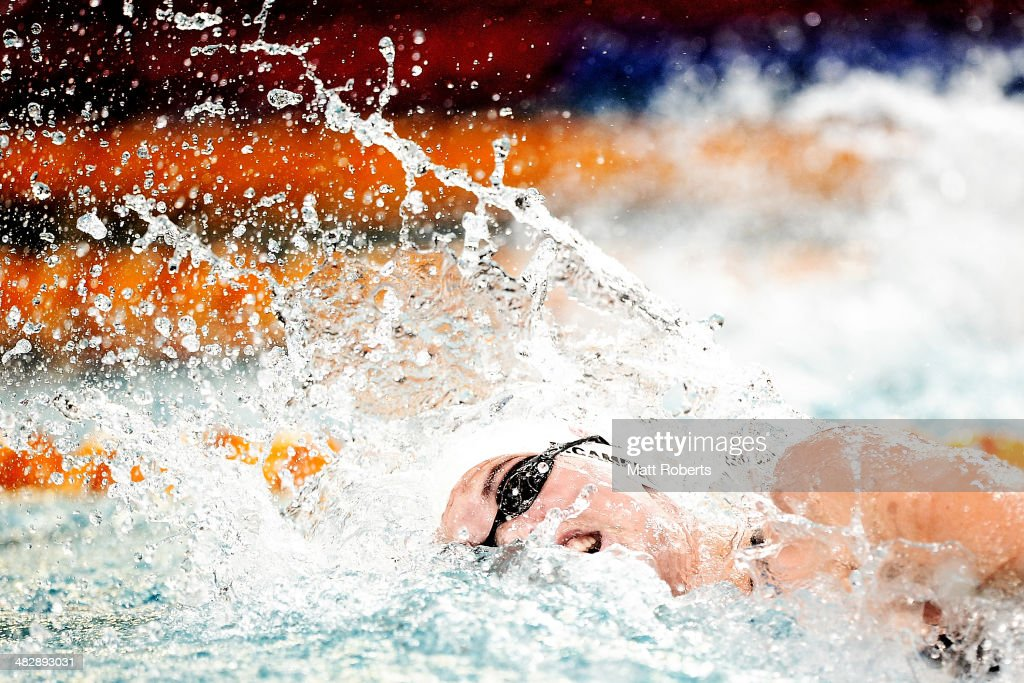 Bronte Campbell competes in the final of the Womens 100 metre Freestyle event during the 2014 Australian Swimming Championships at Brisbane Aquatic Centre on April 5, 2014 in Brisbane, Australia.