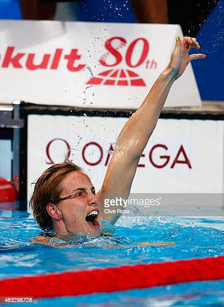 Bronte Campbell of Australia celebrates after winning the gold medal in the Women's 100m Freestyle final on day fourteen of the 16th FINA World...