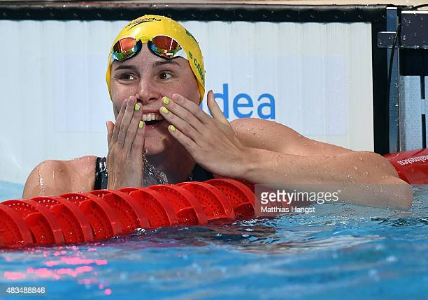 Bronte Campbell of Australia celebrates winning the gold medal in the Women's 50m Freestyle Final during day sixteen of the 16th FINA World...