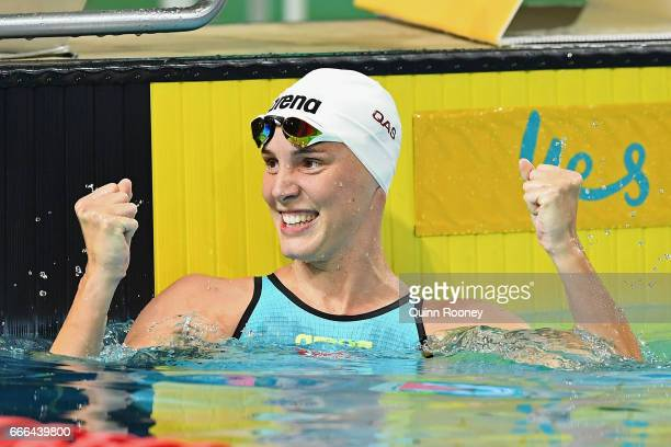 Bronte Campbell of Australia celebrates winning the Women's 100m Freestyle during the 2017 Australian Swimming Championships at the Sleeman Sports...