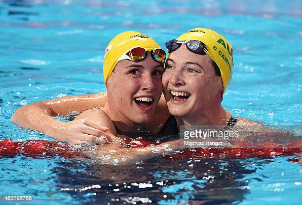 Bronte Campbell of Australia celebrates with her sister and bronze medal winner Cate after winning the gold medal in the Women's 100m Freestyle final...
