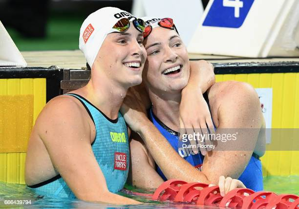 Bronte Campbell of Australia is congratulated by her sister Cate Campbell after she won the Women's 100m Freestyle during the 2017 Australian...