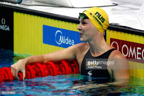 Bronte Campbell of Australia looks on during the Women's 50m Freestyle semi final on day sixteen of the Budapest 2017 FINA World Championships on...