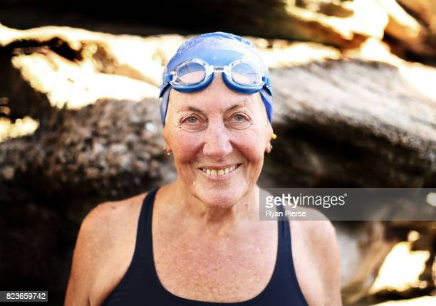 Bronte Splashers member Ginny Hedderman poses at Bronte Pool on July 9 2017 in Sydney Australia 73yearold Ginny Hedderman has been swimming with the...
