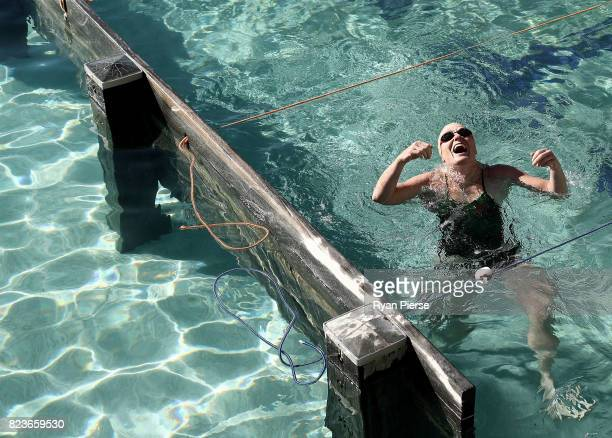 Bronte Splashers Swimming Club member celebrates a race win at Bronte Pool on July 09 2017 in Sydney Australia Founded in 1921 the Bronte Splashers...