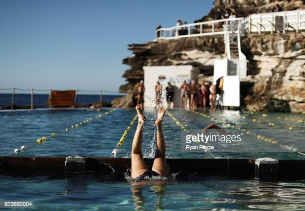 Bronte Splashers Swimming Club member recovers after a race at Bronte Pool on July 09 2017 in Sydney Australia Founded in 1921 the Bronte Splashers...
