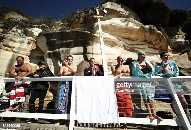 Bronte Splashers Swimming Club members cheer on competitors at Bronte Pool on July 09 2017 in Sydney Australia Founded in 1921 the Bronte Splashers...