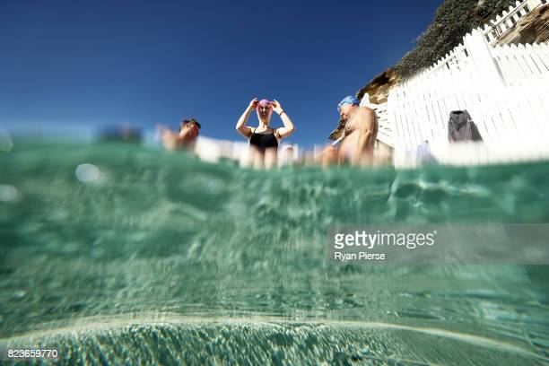 Bronte Splashers Swimming Club members prepare to compete at Bronte Pool on July 16 2017 in Sydney Australia Founded in 1921 the Bronte Splashers...
