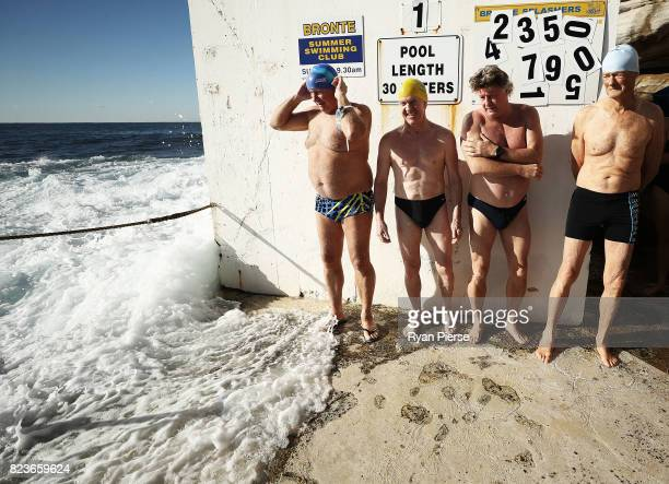 Bronte Splashers Swimming Club members prepare to compete in a heavy swell at Bronte Pool on June 25 2017 in Sydney Australia Founded in 1921 the...