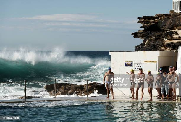 Bronte Splashers Swimming Club members prepare to compete in a heavy swell At Bronte Pool on July 23 2017 in Sydney Australia Founded in 1921 the...