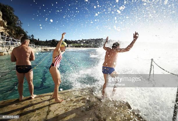Bronte Splashers Swimming Club members prepare to race at Bronte Poolon June 25 2017 in Sydney Australia Founded in 1921 the Bronte Splashers...