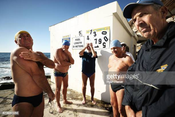 Bronte Splashers Swimming Club members prepare to race at Bronte Pool on June 25 2017 in Sydney Australia Founded in 1921 the Bronte Splashers...