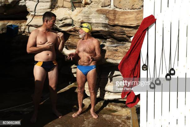 Bronte Splashers Swimming Club members prepare to race at Bronte Pool on July 09 2017 in Sydney Australia Founded in 1921 the Bronte Splashers...