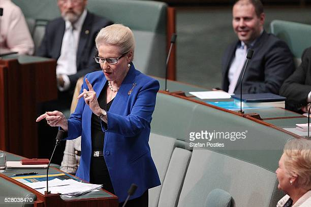 Bronwyn Bishop gives her valedictory speech in the House of Representatives at Parliament House on May 4 2016 in Canberra Australia The Turnbull...