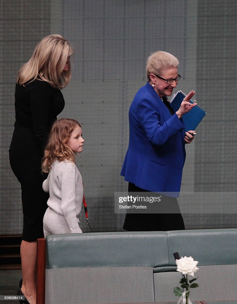Bronwyn Bishop leaves the House of Representatives chamber with daughter Angela Bishop and grand daughter Amelia after giving her valedictory speech at Parliament House on May 4, 2016 in Canberra, Australia. The Turnbull Goverment's first budget has delivered tax cuts for small and medium businesses, income tax cuts people earning over $80,000 a year,new measures to help young Australians into jobs and cutbacks to superannuation concessions for the wealthy.