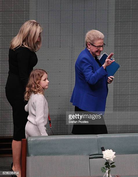Bronwyn Bishop leaves the House of Representatives chamber with daughter Angela Bishop and grand daughter Amelia after giving her valedictory speech...