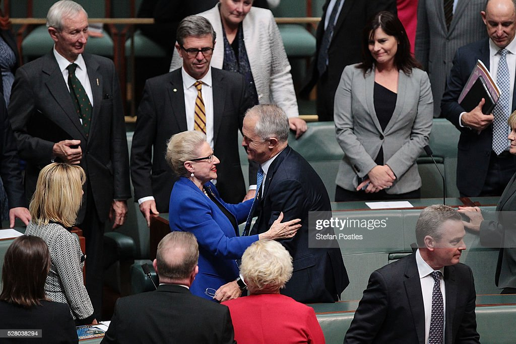 Bronwyn Bishop receives a hug from Prime Minister Malcolm Turnbull after giving her valedictory speech in the House of Representatives at Parliament House on May 4, 2016 in Canberra, Australia. The Turnbull Goverment's first budget has delivered tax cuts for small and medium businesses, income tax cuts people earning over $80,000 a year,new measures to help young Australians into jobs and cutbacks to superannuation concessions for the wealthy.