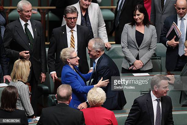 Bronwyn Bishop receives a hug from Prime Minister Malcolm Turnbull after giving her valedictory speech in the House of Representatives at Parliament...