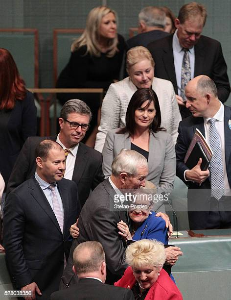 Bronwyn Bishop receives hugs from her colleagues after giving her valedictory speech in the House of Representatives at Parliament House on May 4...