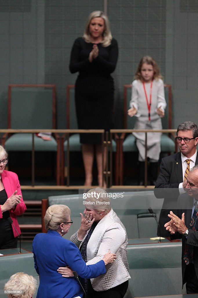 Bronwyn Bishop receives hugs from her colleagues after giving her valedictory speech in the House of Representatives at Parliament House on May 4, 2016 in Canberra, Australia. The Turnbull Goverment's first budget has delivered tax cuts for small and medium businesses, income tax cuts people earning over $80,000 a year,new measures to help young Australians into jobs and cutbacks to superannuation concessions for the wealthy.