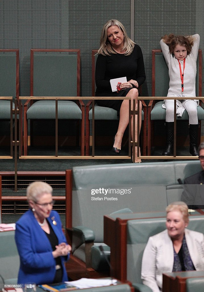 Bronwyn Bishop's daughter Angela Bishop watches her give her valedictory speech in the House of Representatives at Parliament House on May 4, 2016 in Canberra, Australia. The Turnbull Goverment's first budget has delivered tax cuts for small and medium businesses, income tax cuts people earning over $80,000 a year,new measures to help young Australians into jobs and cutbacks to superannuation concessions for the wealthy.