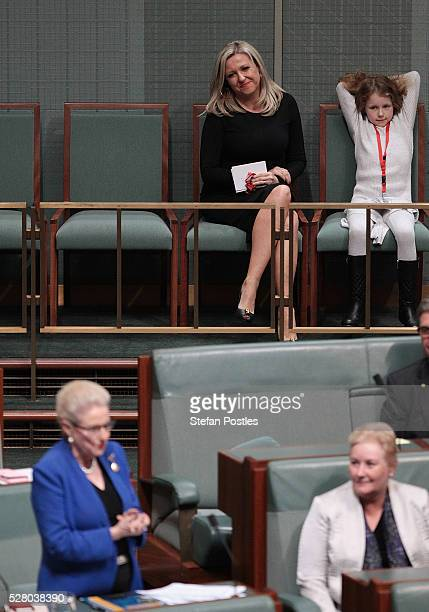 Bronwyn Bishop's daughter Angela Bishop watches her give her valedictory speech in the House of Representatives at Parliament House on May 4 2016 in...